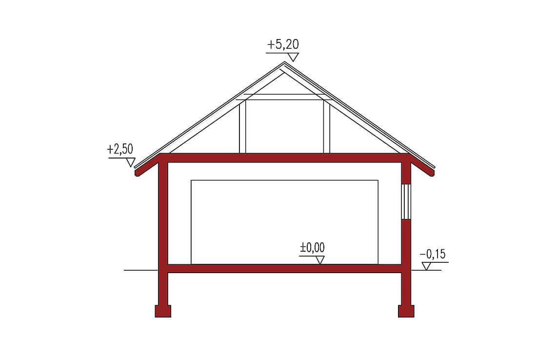 Projekt garażu wolnostojącego APG 4B przekrój