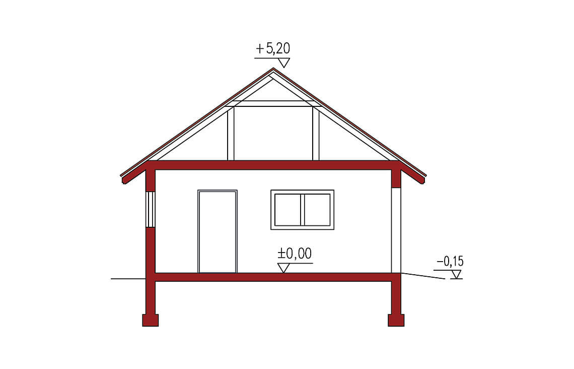 Projekt garażu wolnostojącego APG 7B przekrój