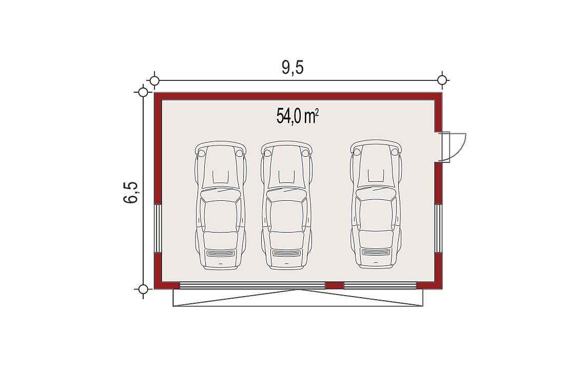 Projekt garażu wolnostojącego APG 7B rzut