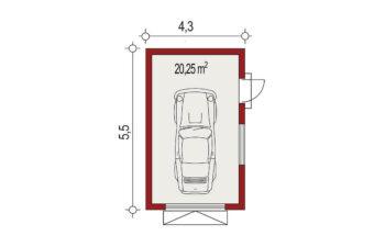 Projekt garażu wolnostojącego APG 8 rzut