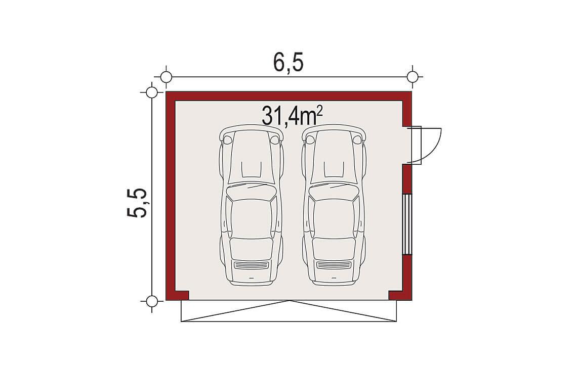 Projekt garażu wolnostojącego APG 9 rzut