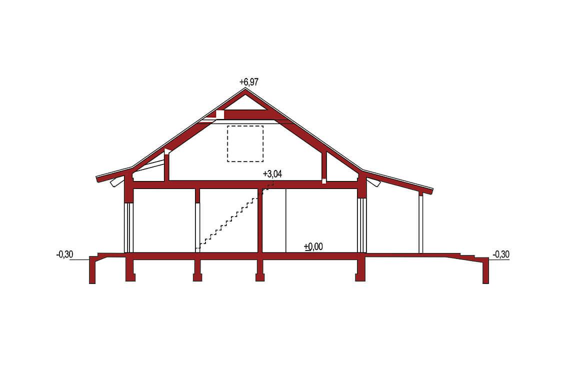 Projekt domu jednorodzinnego Abi A przekrój