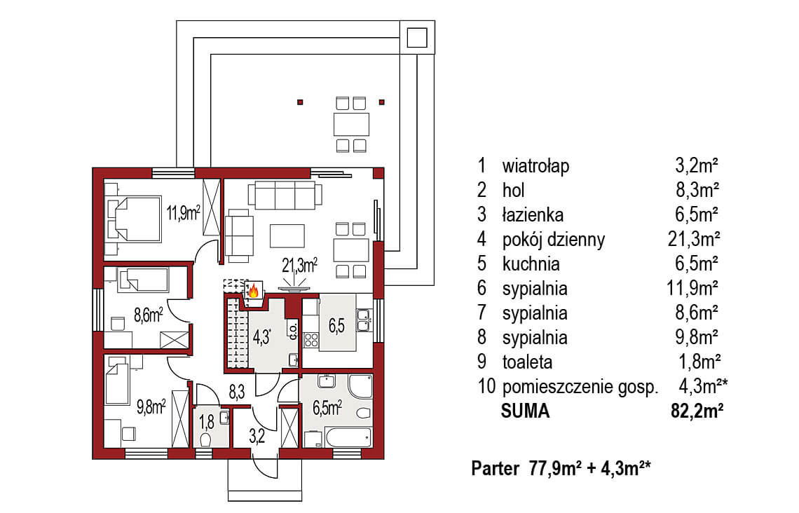 Projekt domu jednorodzinnego Abi A rzut parteru