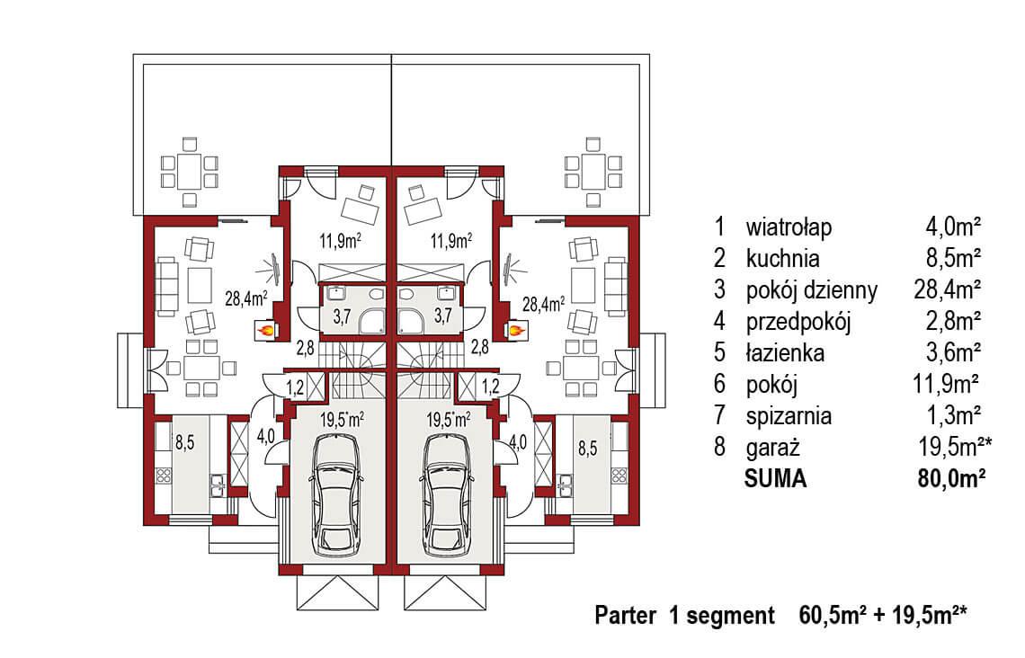 Projekt domu bliźniaczego Adam rzut parter