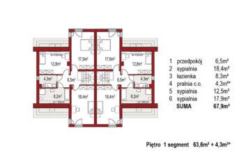 Projekt domu bliźniaczego Adam rzut piętro