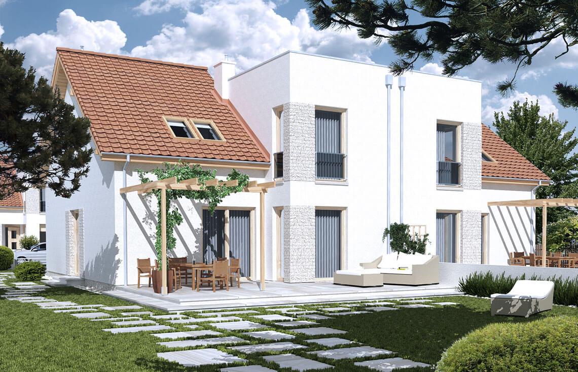Projekt domu szeregowego-bliźniaczego Adam ogród
