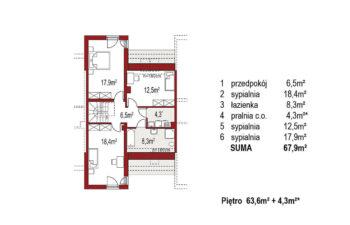 Projekt domu szeregowego-bliźniaczego Adam segment środkowy rzut piętro