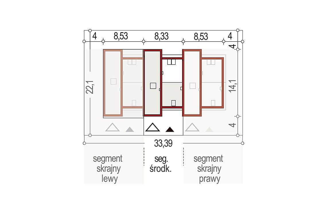 Projekt domu szeregowego-bliźniaczego Adam segment środkowy sytuacja