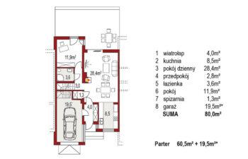 Projekt domu szeregowego-bliźniaczego Adam segment środkowy rzut parter