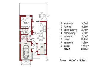 Projekt domu szeregowego-bliźniaczego Adam segment lewy rzut parter