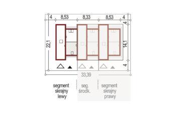 Projekt domu szeregowego-bliźniaczego Adam segment lewy sytuacja