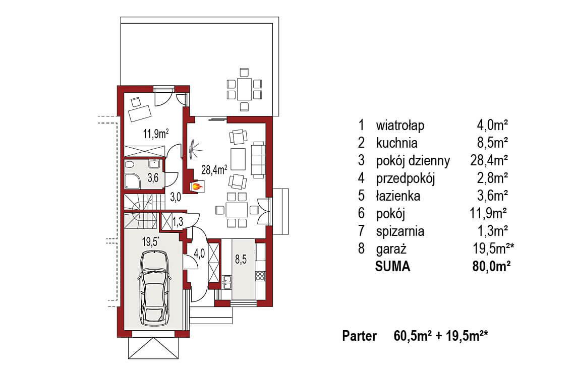 Projekt domu szeregowego-bliźniaczego Adam segment prawy rzut parter