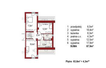 Projekt domu szeregowego-bliźniaczego Adam segment prawy rzut piętro