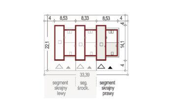 Projekt domu szeregowego-bliźniaczego Adam segment prawy sytuacja