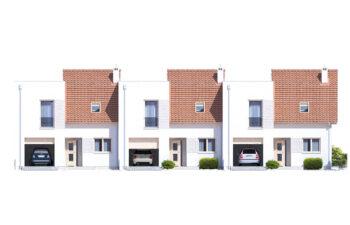Projekt domu szeregowego-bliźniaczego Adam elewacja front