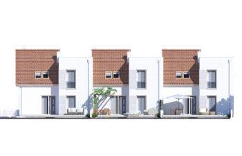 Projekt domu szeregowego-bliźniaczego Adam elewacja ogród
