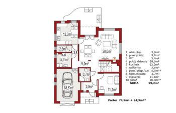 Projekt domu jednorodzinnego Agio A rzut parteru