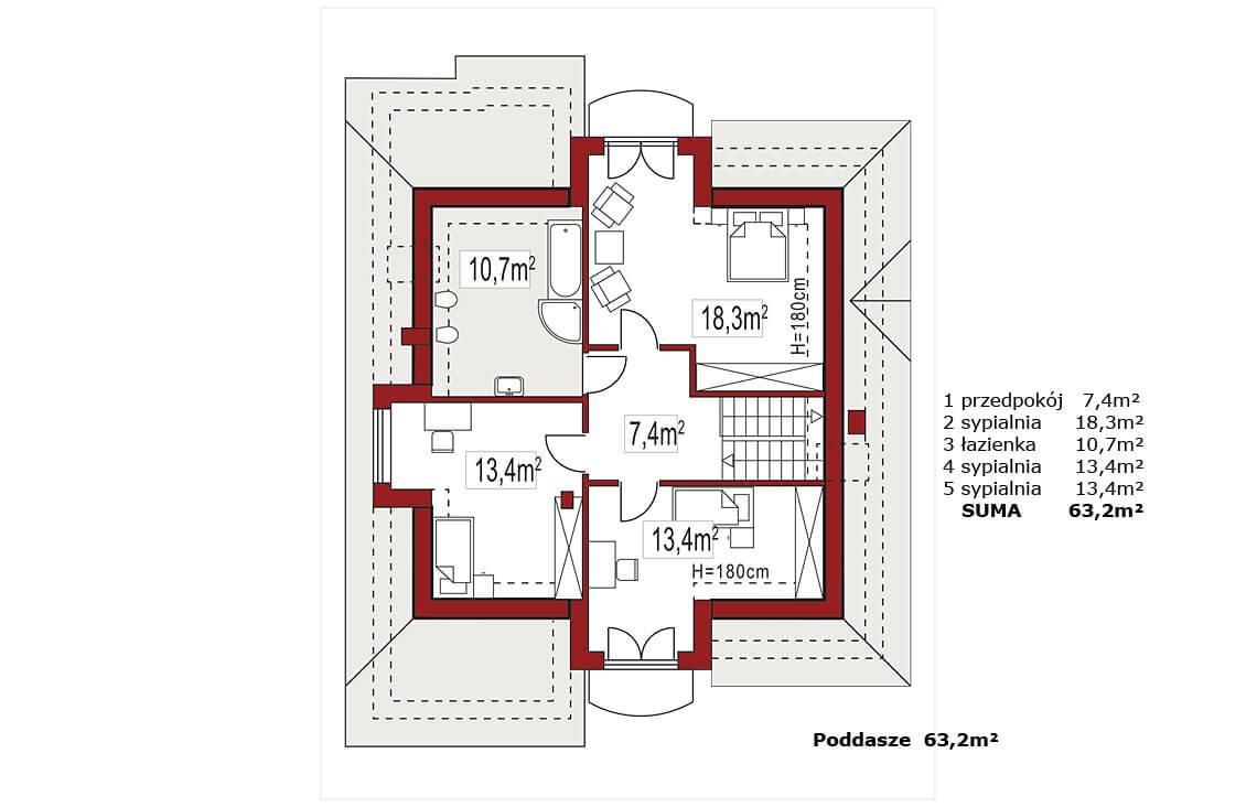 Projekt domu jednorodzinnego Agio A rzut poddasza