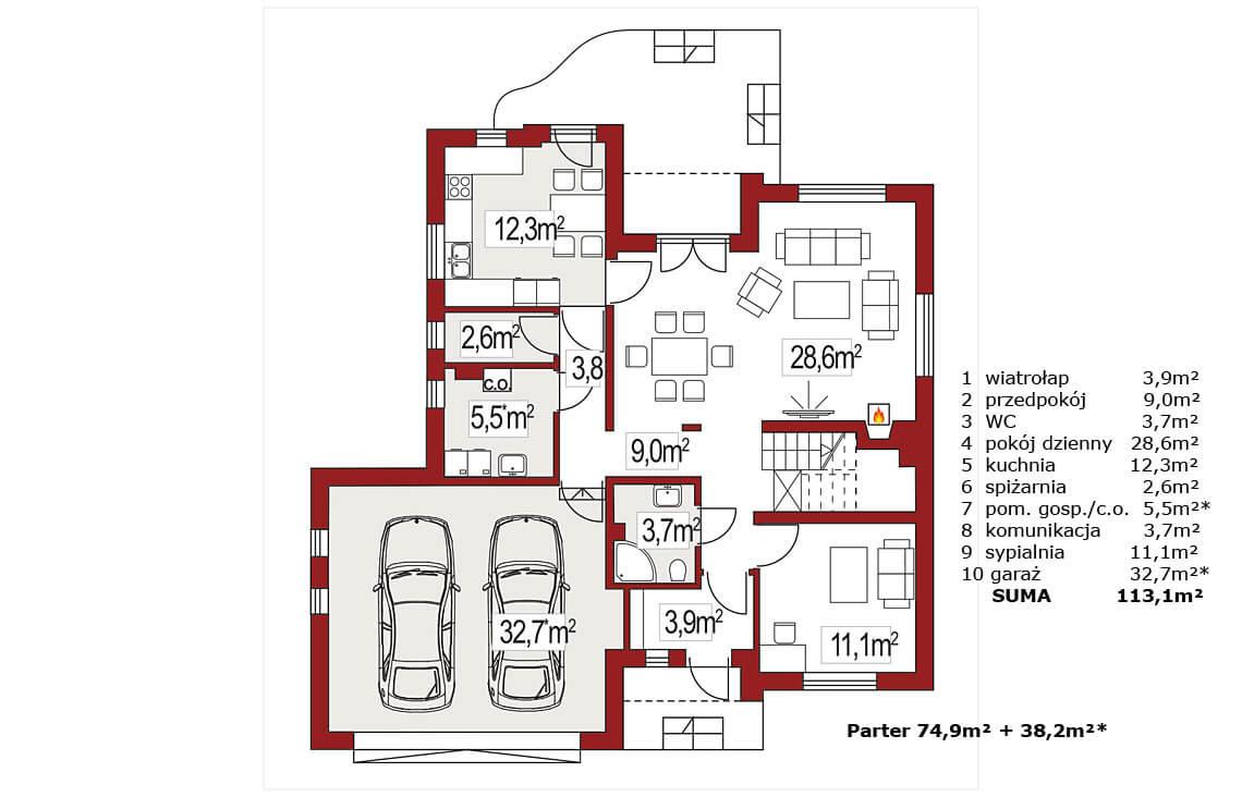 Projekt domu jednorodzinnego Agio B rzut parteru