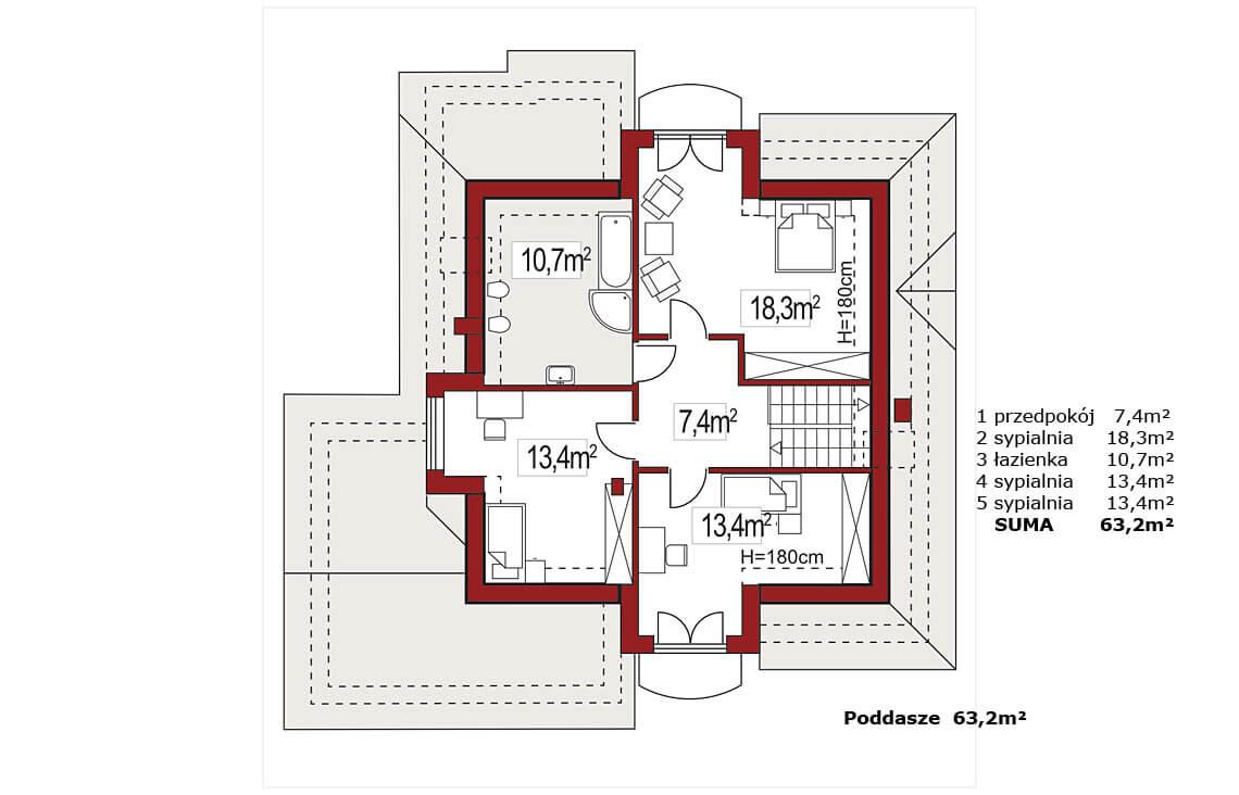 Projekt domu jednorodzinnego Agio B rzut poddasza