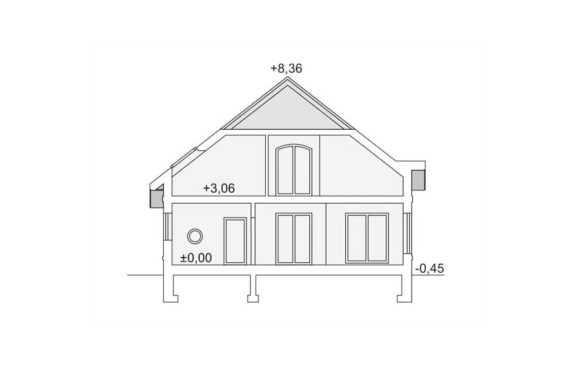 Projekt domu jednorodzinnego Agio przekrój