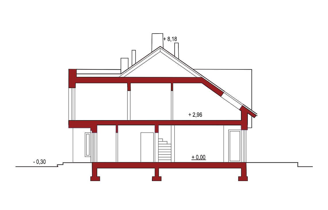 Projekt domu szeregowego, bliźniaczego Andrea segment środkowy przekrój