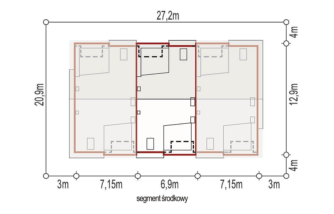 Projekt domu szeregowego, bliźniaczego Andrea segment środkowy sytuacja