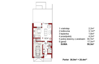 Projekt domu szeregowego, bliźniaczego Andrea segment lewy rzut parter