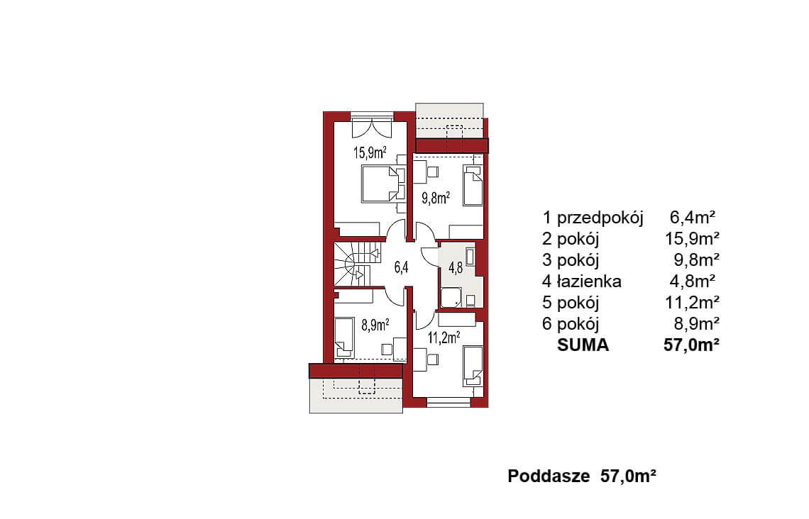 Projekt domu szeregowego, bliźniaczego Andrea segment lewy poddasze