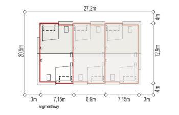 Projekt domu szeregowego, bliźniaczego Andrea segment lewy sytuacja