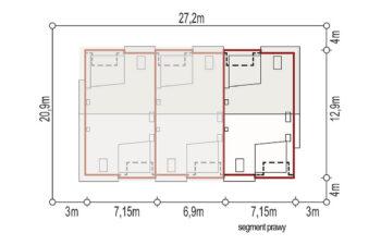 Projekt domu szeregowego, bliźniaczego Andrea segment prawy sytuacja