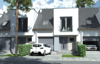 Projekt domu szeregowego, bliźniaczego Andrea segment środkowy front