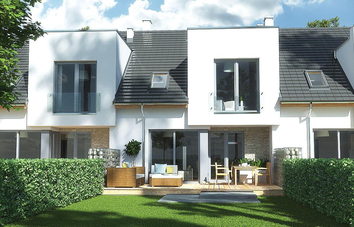Projekt domu szeregowego, bliźniaczego Andrea segment środkowy widok ogród