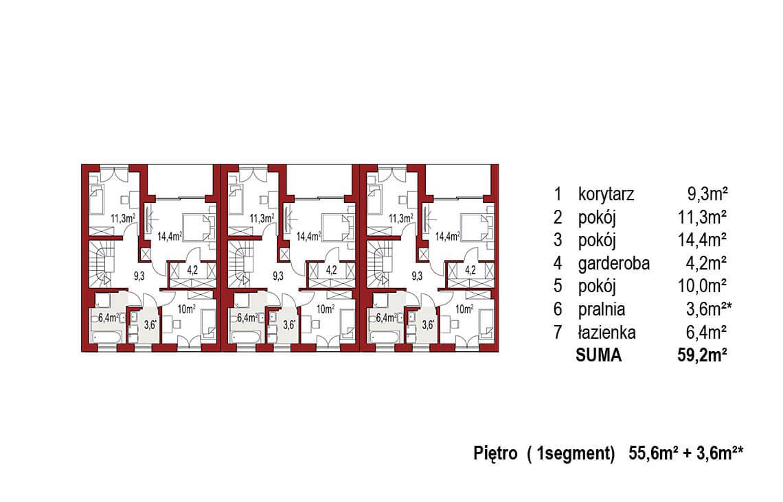 Projekt domu szeregowego, bliźniaczego Ania A 3 segmenty rzut piętro