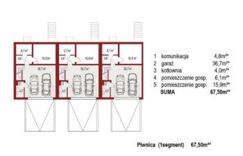 Projekt domu szeregowego, bliźniaczego Ania A 3 segmenty rzut piwnicy