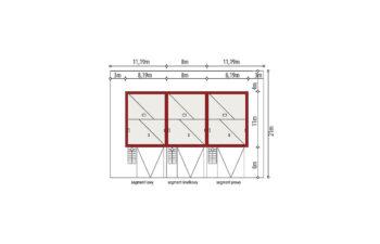 Projekt domu szeregowego, bliźniaczego Ania A 3 segmenty sytuacja