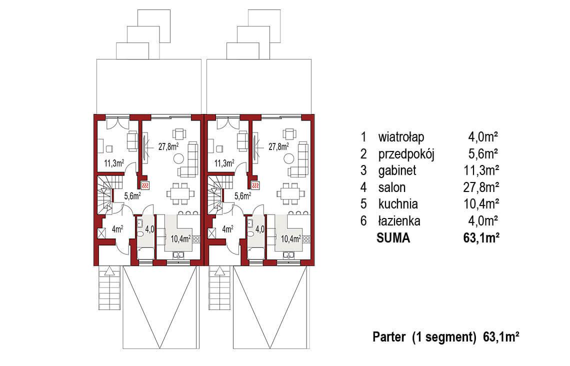 Projekt domu bliźniaczego Ania A rzut parter
