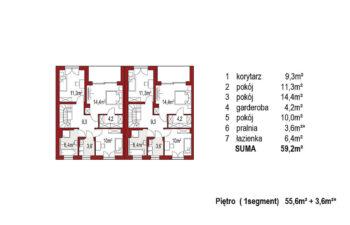 Projekt domu bliźniaczego Ania A rzut piętro
