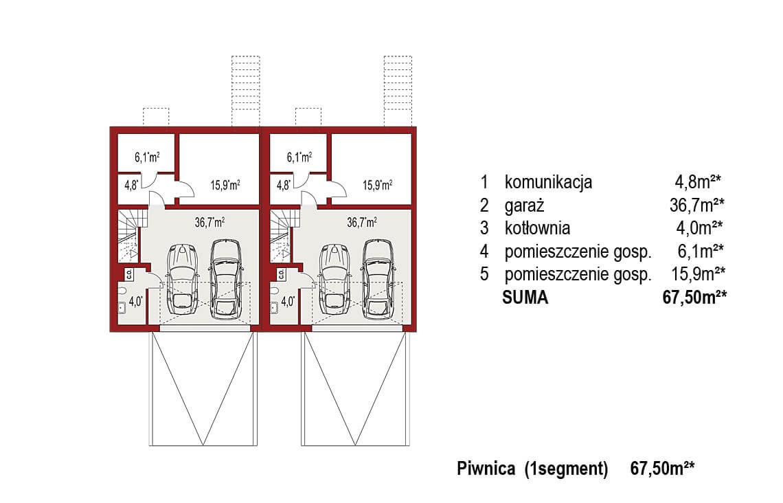 Projekt domu bliźniaczego Ania A rzut piwnica