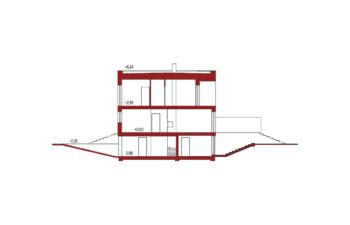 Projekt domu szeregowego, bliźniaczego Ania A przekrój