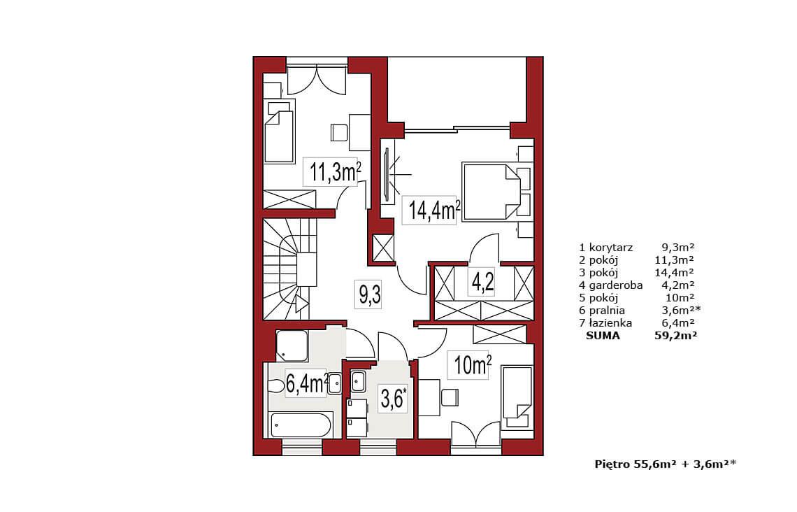 Projekt domu szeregowego, bliźniaczego Ania A segment środkowy rzut piętro