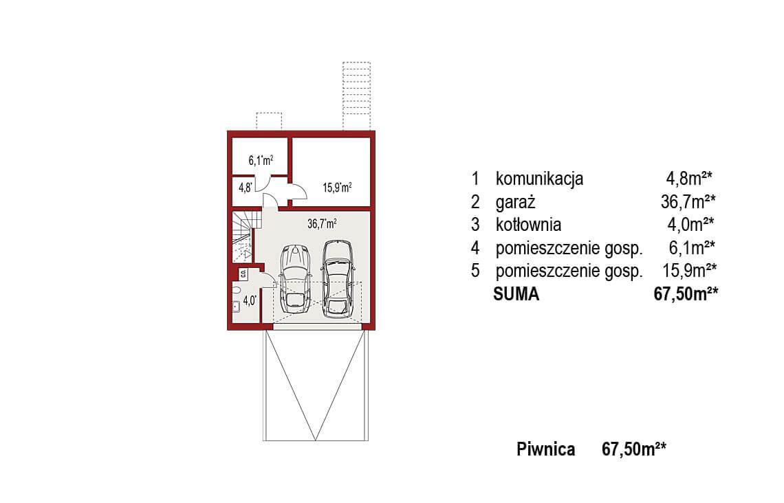 Projekt domu szeregowego, bliźniaczego Ania A segment środkowy rzut piwnica