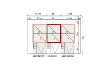 Projekt domu szeregowego, bliźniaczego Ania A segment środkowy sytuacja