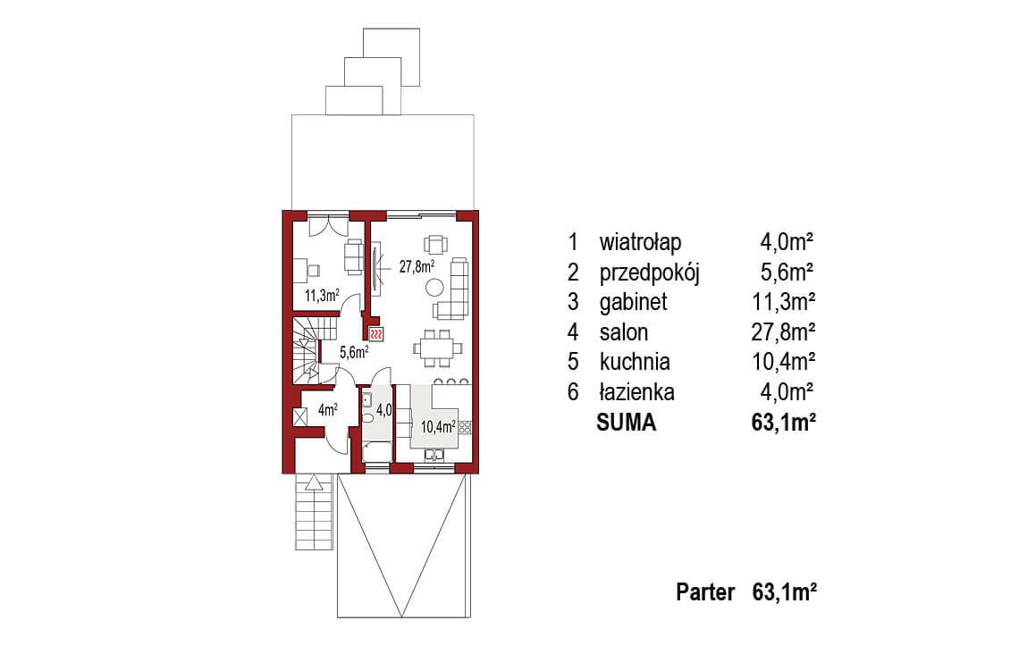 Projekt domu szeregowego, bliźniaczego Ania A segment lewy rzut parter
