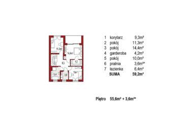 Projekt domu szeregowego, bliźniaczego Ania A segment lewy rzut piętro