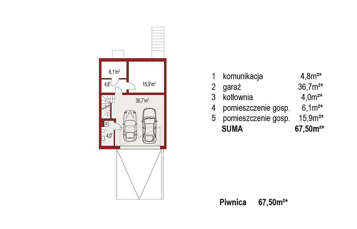 Projekt domu szeregowego, bliźniaczego Ania A segment lewy rzut piwnica