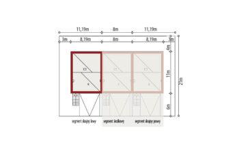 Projekt domu szeregowego, bliźniaczego Ania A segment lewy sytuacja
