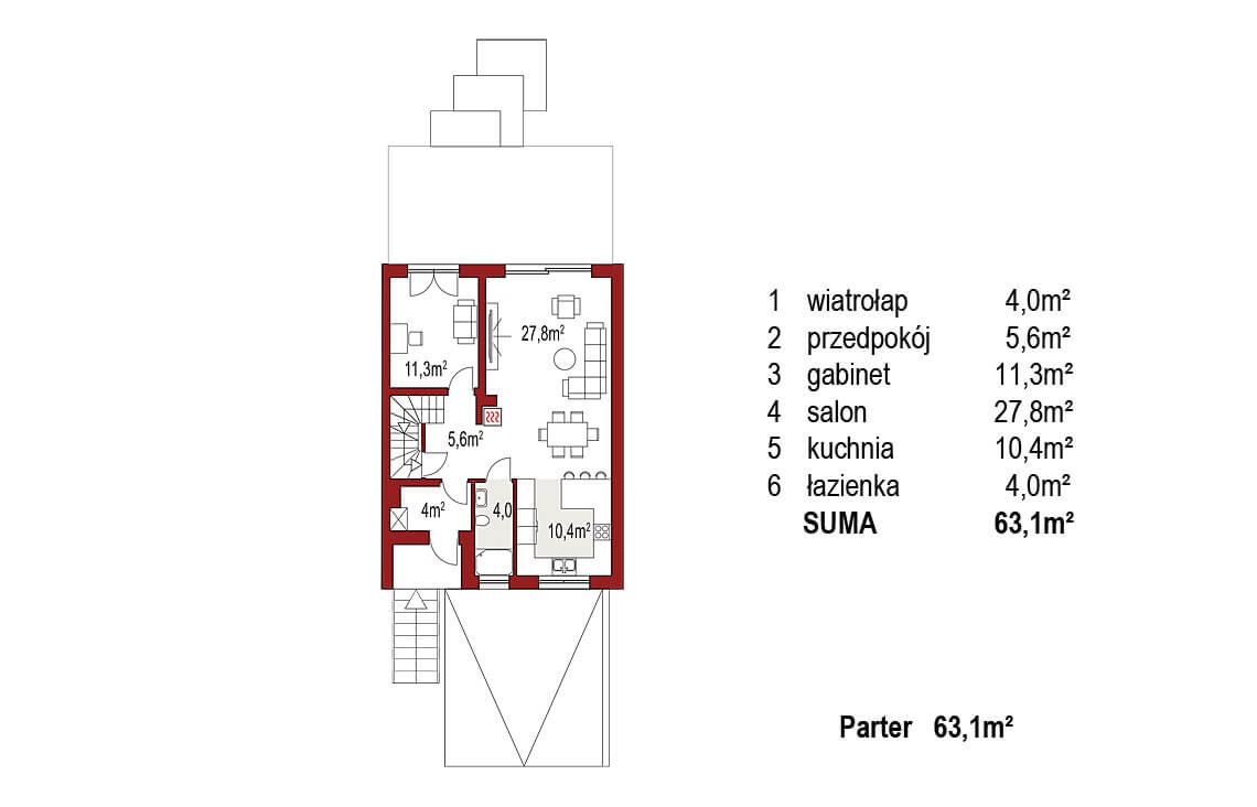 Projekt domu szeregowego, bliźniaczego Ania A segment prawy rzut parter