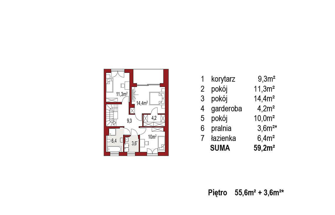 Projekt domu szeregowego, bliźniaczego Ania A segment prawy rzut piętro