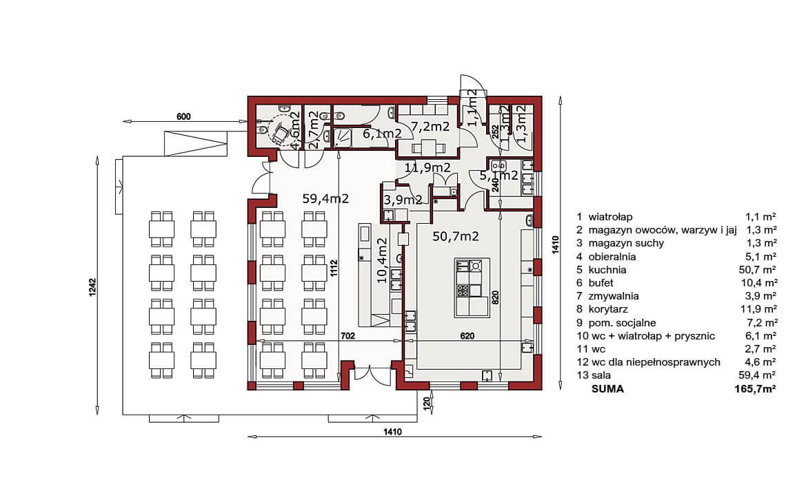 Projekt usługowy Bar Restauracja Kuchenne Ewolucje rzut
